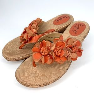 B.O.C orange floral leather sandal cork we…